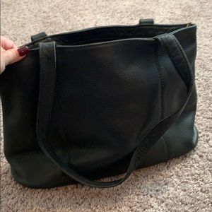Black leather authentic Coach Tote